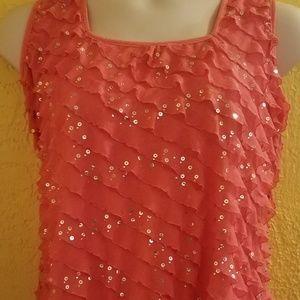 Pink Coral Ruffle SEQUIN Tank Shirt PLUS 1X 18 20